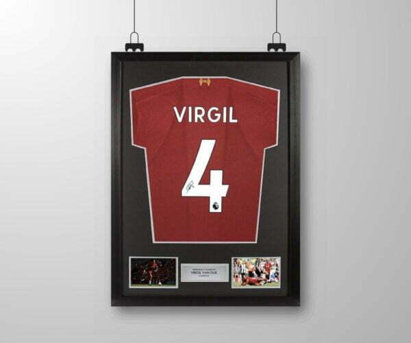 Signed and framed Virgil Van Dijk Liverpool shirt