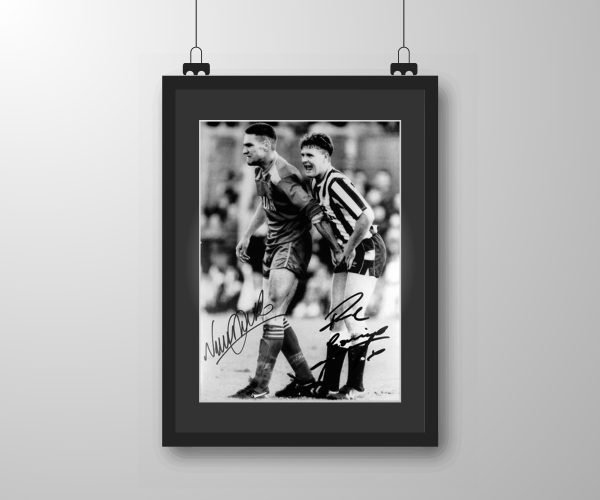 Signed and framed Paul Gascoigne & Vinnie Jones print